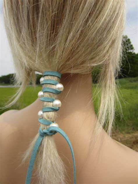 hair ties with hair jewelry pearl leather hair ties wraps ponytail holders