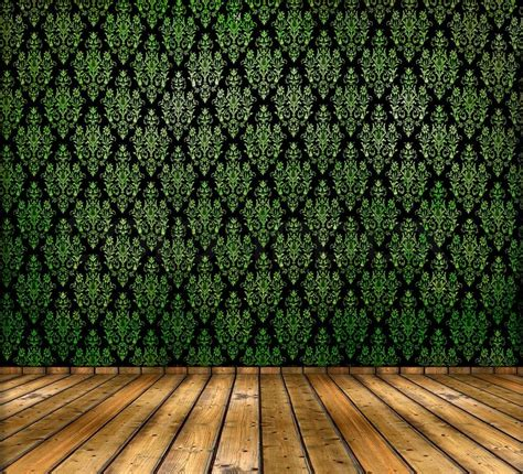 Vintage Home Floor Plans by Vintage Green Wallpapers And Wooden Floor Stock Photo