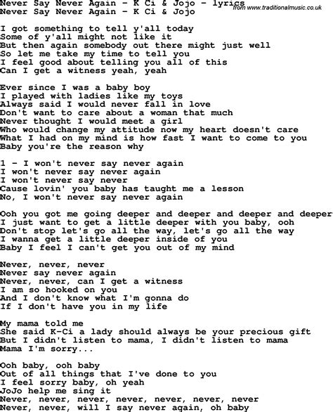 song lyrics for never say never again k ci jojo