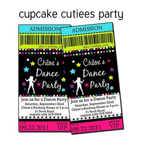printable dance tickets dance party pop neon rock star digital custom invitation