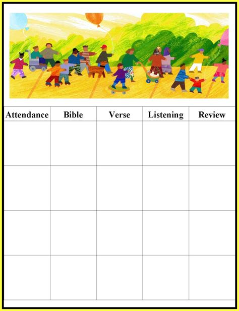 sunday school attendance template children s gems in my treasure box sunday school