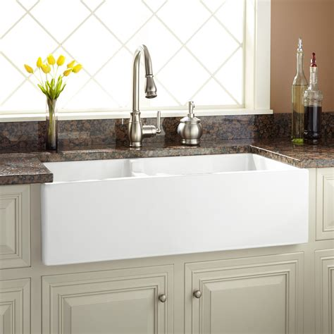 Fireclay Kitchen Sinks by 36 Quot Risinger 60 40 Offset Bowl Fireclay Farmhouse Sink