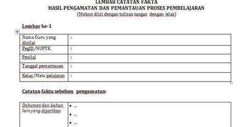 contoh lembar catatan fakta pkg format word info operator sekolah