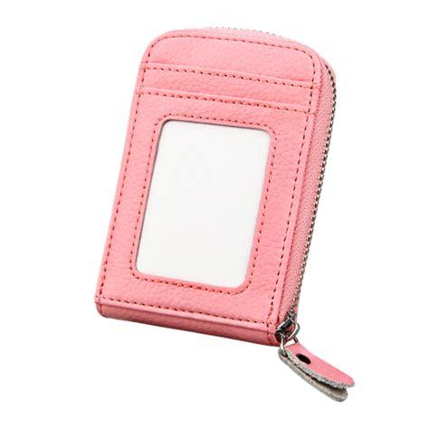 Solid Color Wallet Pink genuine cowhide leather solid color zipper vertical card holder wallet rfid blocking card bag