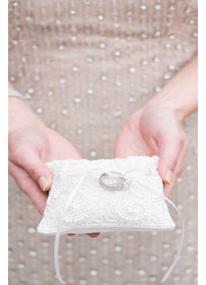 beaded miniature ring pillow davids bridal