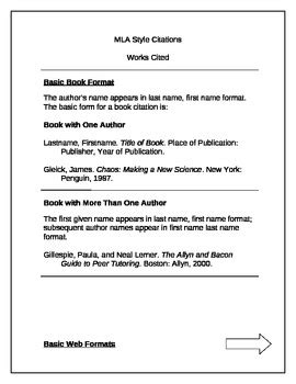sle of works cited page mla format book website email by grotbeck tpt