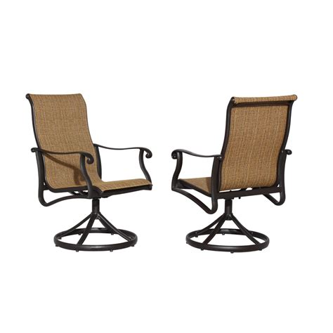 Shop Allen Roth Safford 2 Count Brown Aluminum Swivel Outdoor Swivel Dining Chairs