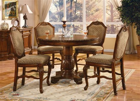 8 pc chateau de ville cherry traditional dining room set acme chateau de ville 5 pc counter height dining set in