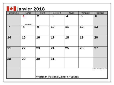 Calendrier 2019 Canada Calendrier Janvier 2018 Canada
