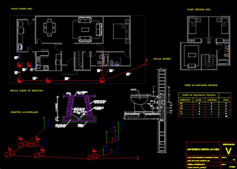 sewage drain network in one family house 2 storeys dwg