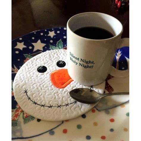snowman mug rug in hoop snowman mug rug nobbieneezkids