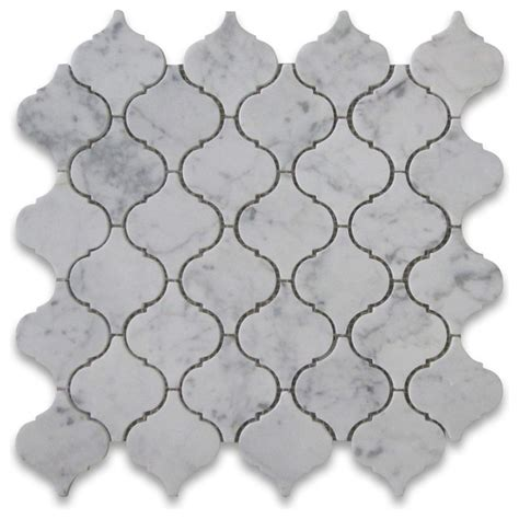 Mosaic Kitchen Tiles For Backsplash carrara marble medium lantern shaped arabesque baroque