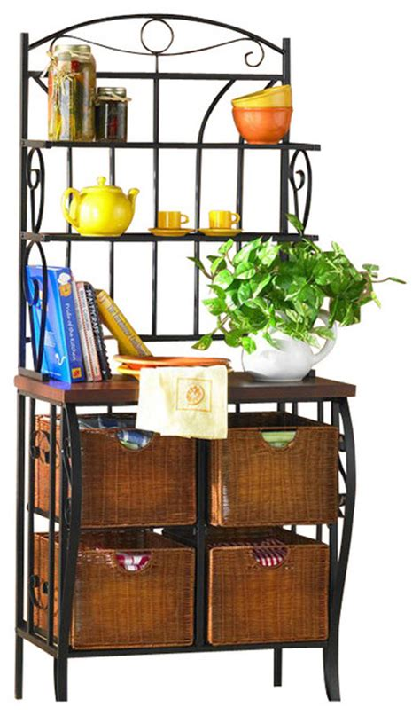 Iron Bakers Rack With Wicker Storage by Sei Iron Wicker Bakers Rack Baker S Racks