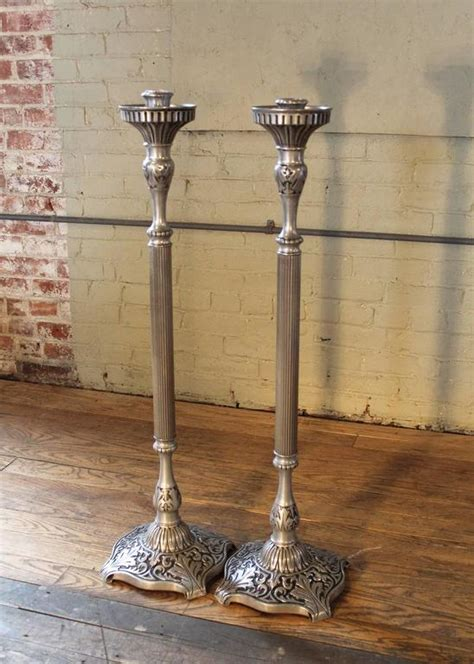 Pewter Floor L by Pair Of Brass Works Pewter Finish Candle Stands