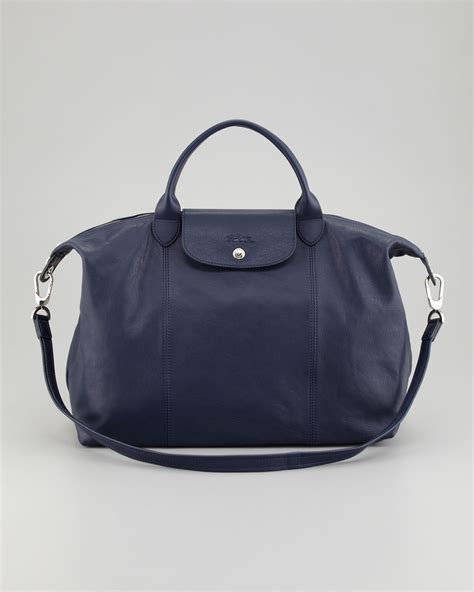 Large Bag lyst longch le pliage cuir large tote bag in blue