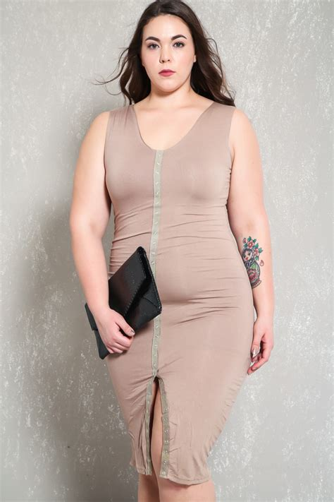 Dress Aaaa mocha knee length sleeveless bodycon plus size
