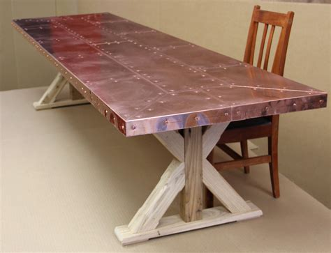 copper top dining room tables copper top dining table