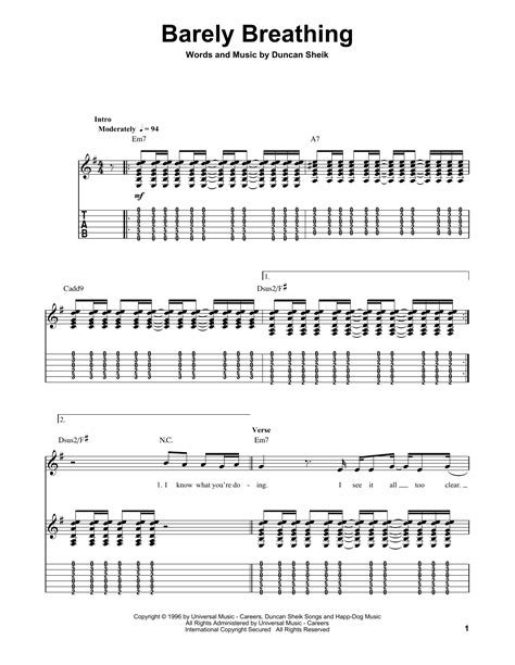 Barely Breathing Partitions | Duncan Sheik | Guitar Tab