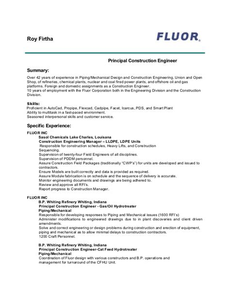 current fluor resume