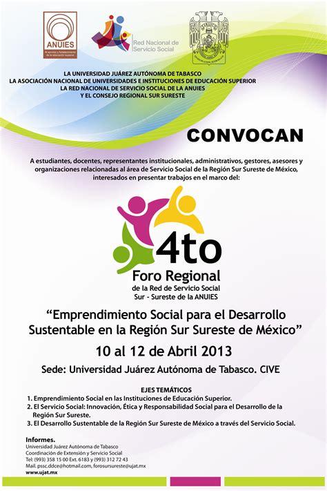 convocatoria para servicio de 4o foro regional de la red de servicio social sur sureste