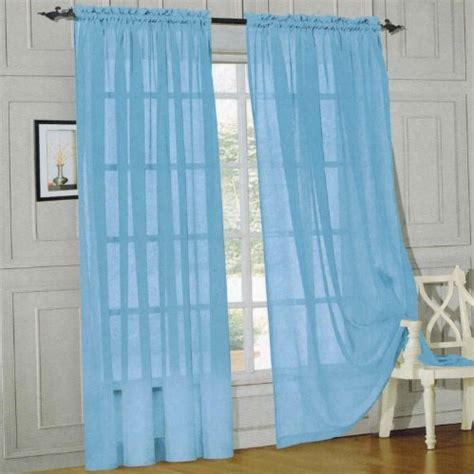 60 inch length curtains elegant comfort 174 2 piece solid sheer panel with rod pocket