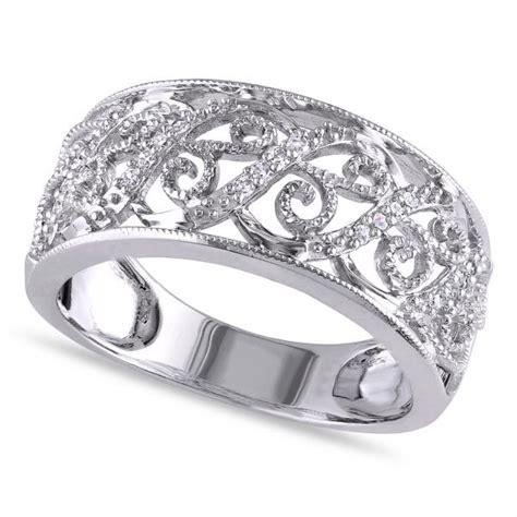 pave set filigree ring 14k white gold 0