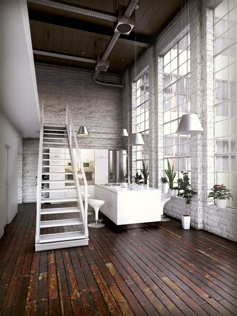 big white staircase beautiful wooden floors high 35 lofts industriels cr 233 233 s avec un logiciel de rendu 3d