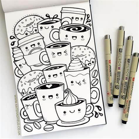 doodle name kate kawaii coffee free colouring page kate hadfield designs