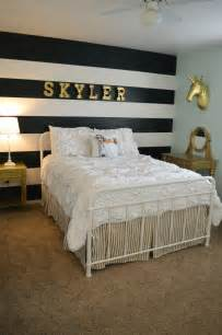 white bedroom with black accents tween room makeover beautiful gold accents unicorns