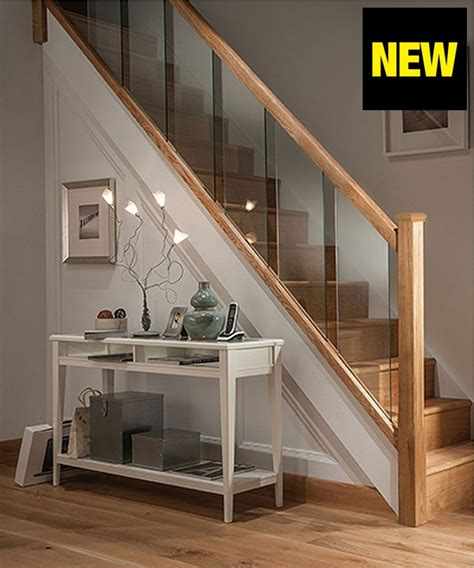 glass landing banister axxys reflections oak and glass 12 step staircase and