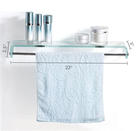 Glass Bathroom Shelves With Towel Bar Fab Glass And Mirror Stylish Bathroom Glass Shelf With Chrome Towel Bar
