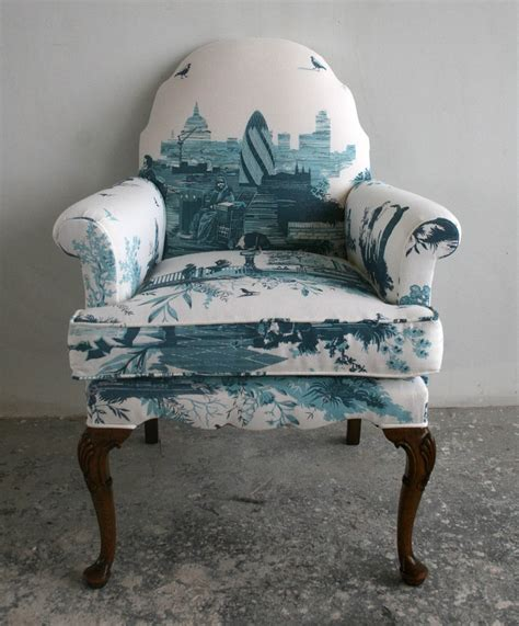 toile upholstered chair armchair upholstery