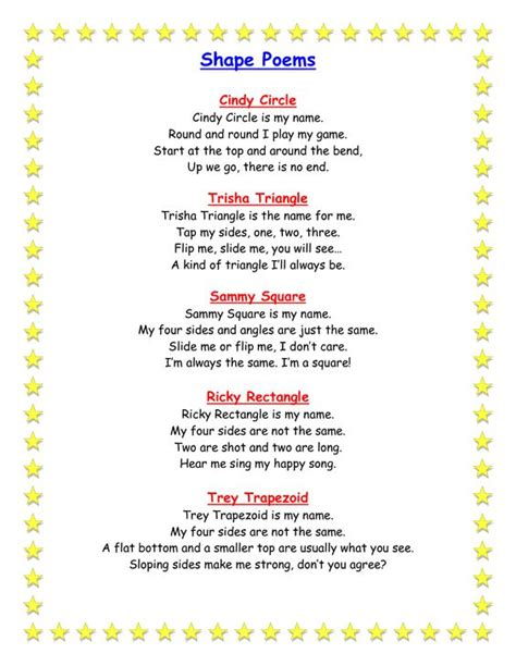 poetry themes ks2 poems about math shapes share teaching fun pinterest