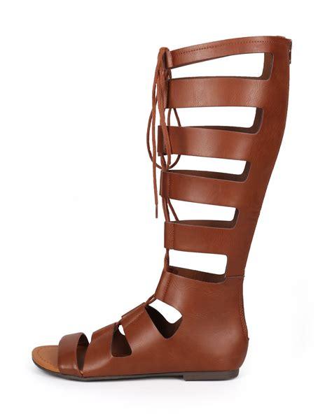 knee high gladiator sandal shoes soda ci88 knee high leatherette open toe lace