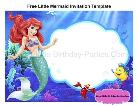 little mermaid birthday party invitation ideas girls