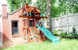 compact backyard playset sweet small yard swing set solution