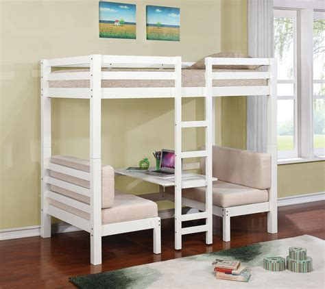 White Twin Loft Bunk Conversion Bed With Play Area Bedroom Bunk Bed Furniture Set