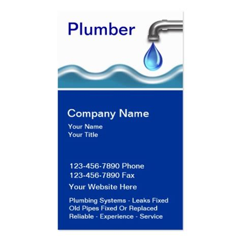 plumber business card templates free premium plumbing business card templates