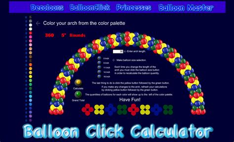 Balloonclick com balloon arch calculator