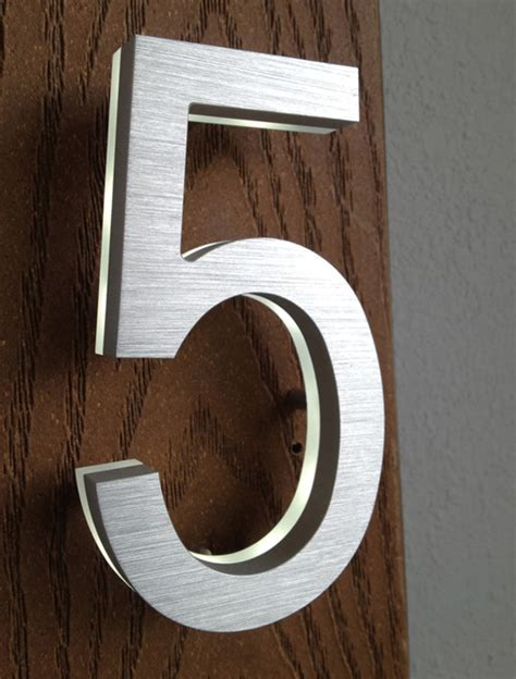 led house numbers luxello modern brass led house numbers 5 surrounding com