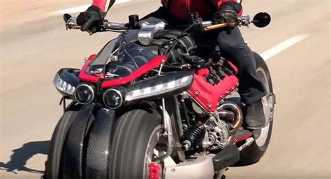 wordlesstech 4 wheel motorcycle powered by a maserati v8