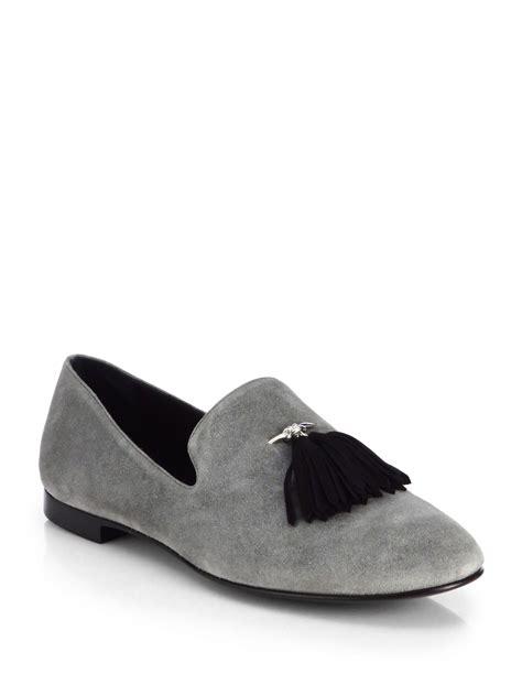 grey tassel loafers giuseppe zanotti tassel suede loafers in gray for lyst