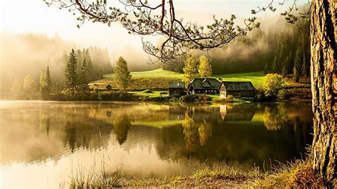 Tapete Landhaus, See, Morgen, ruhige, schöne Landschaft