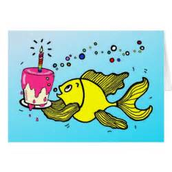 Happy birthday fish funny cartoon greeting card zazzle