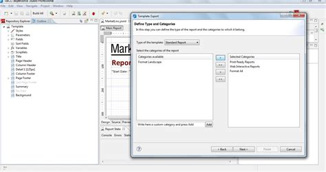 creating a custom template with jaspersoft studio