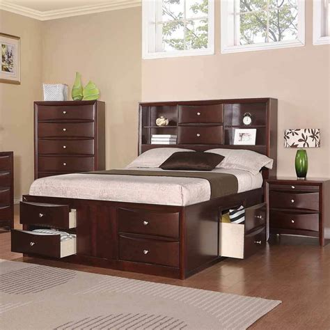 Bed With Storage And Headboard by Bedroom Bed W Multi Drawers Storage