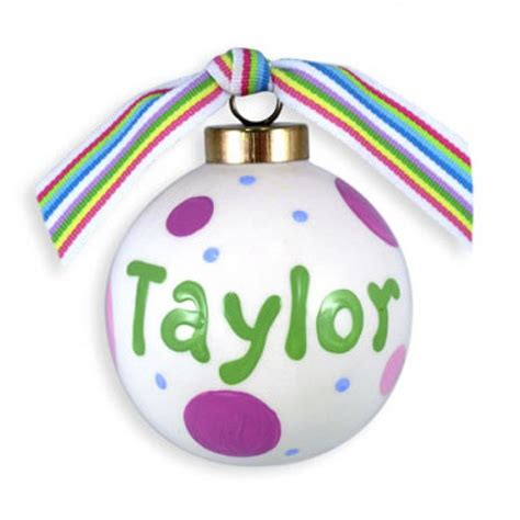 personalized christmas ball ornament polkadots