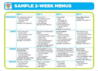 menu for the week template sle 2 week menus choose myplate