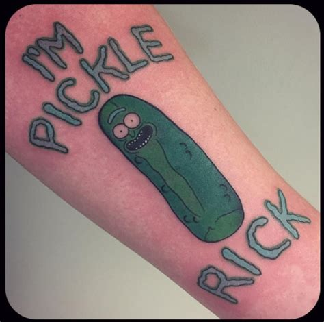 pickle tattoo 15 pickle rick tattoos to tickle your giggle stacie