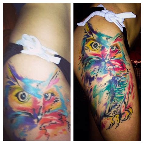 watercolor thigh tattoos my watercolor owl by johnny mac watercolor